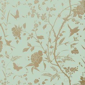 Metallic floral butterfly wallpaper