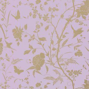 Floral butterfly metallic wallpaper