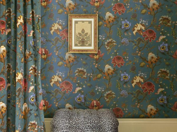 brightly coloured floral wallpaper