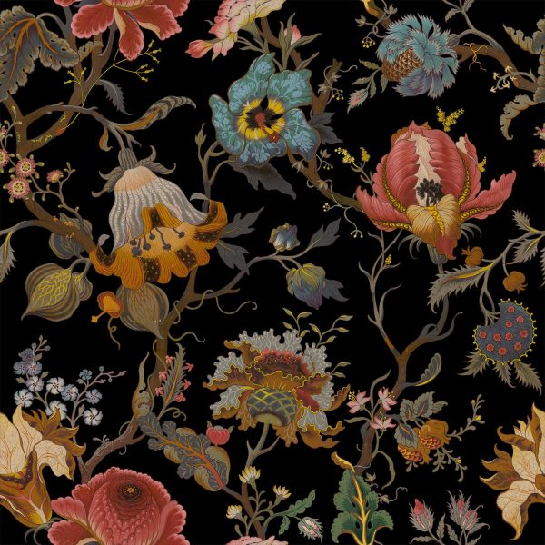 brightly coloured modern floral wallpaper