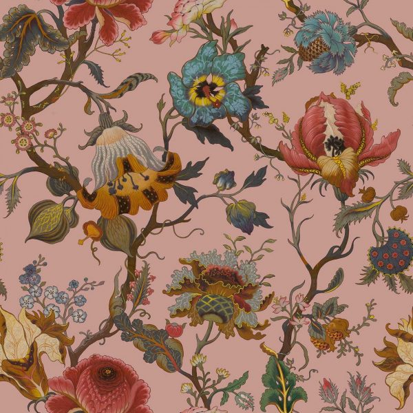 brightly exotic floral wallpaper