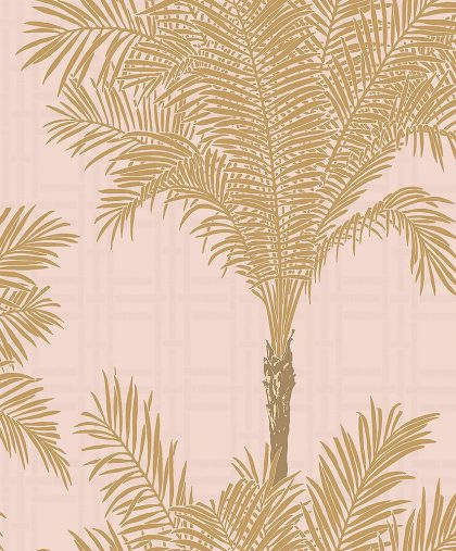 Pink bamboo & palm tree wallpaper