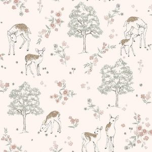 Nursery wallpaper featuring deers