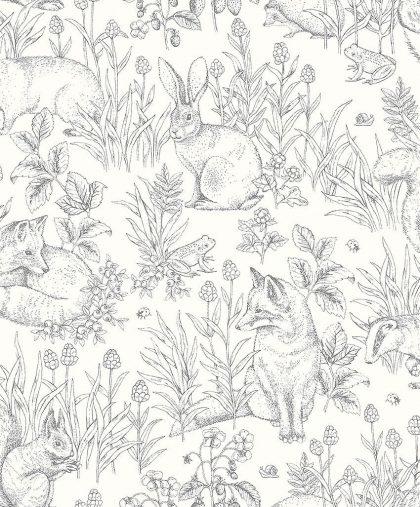 Bunny, frog and fox wallpaper