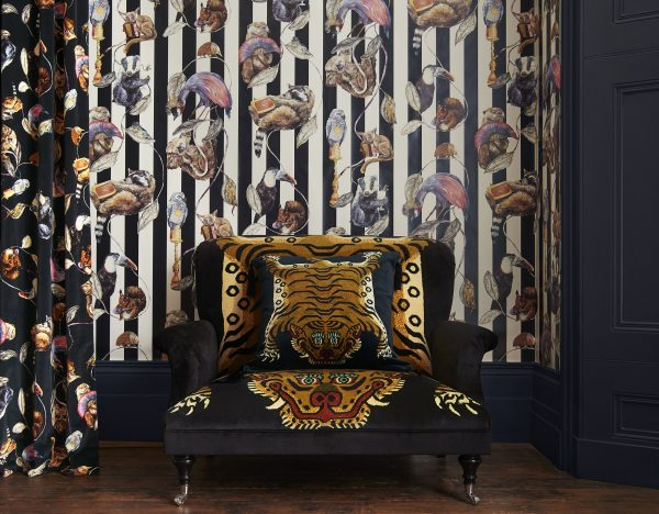 Trendy animal stripe wallpaper