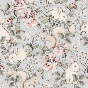 Forest animal floral wallpaper