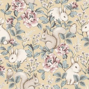 Floral wallpaper with forest animals