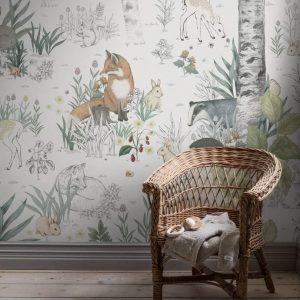 Forest animal wallpaper mural
