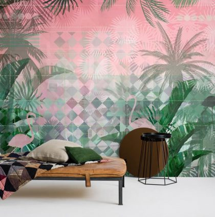Art Deco flamingo wallpaper