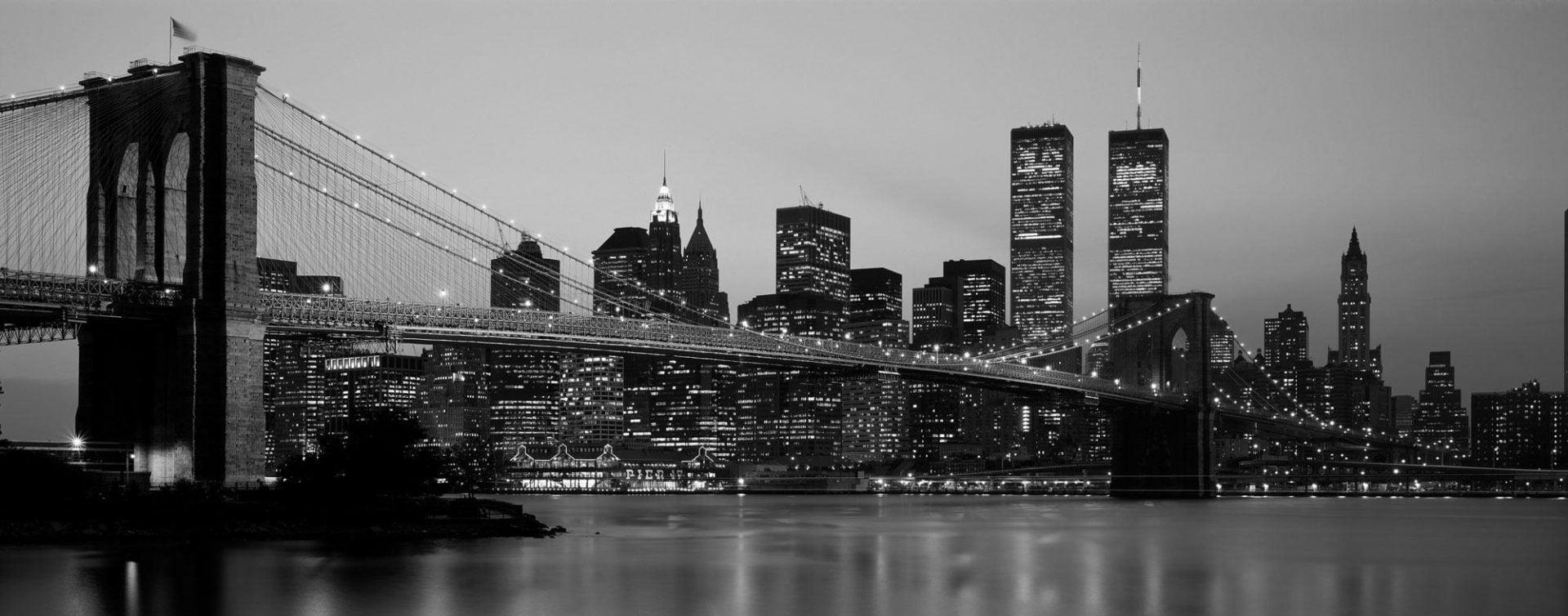 New York Skyline Night Time Photo Mural Wallpaper