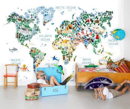 Kids world map mural