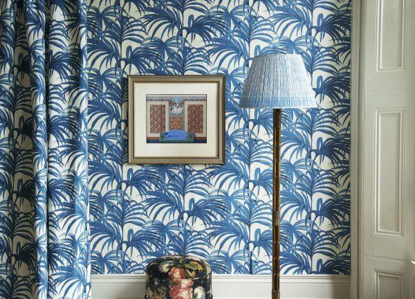 Blue palm leaf wallpaper
