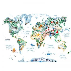 Kids world map mural