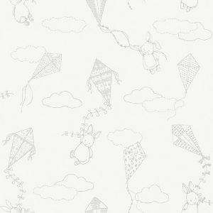 Nursery wallpaper with bunnies & kites