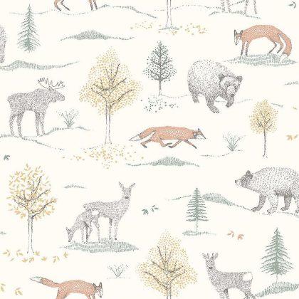 Woodland animal kids wallpaper