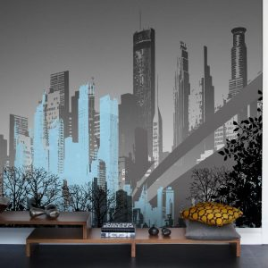 Modern cityscape mural of Brooklyn Bridge