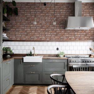 brick wallpaper kitchen